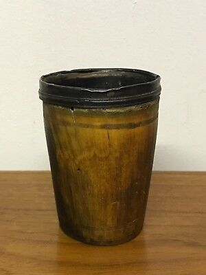GEORGE III Carved Horn and Sterling Drinking Cup Beaker Hallmarks THOMAS BARKER?