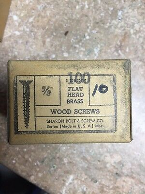 Vintage # 10 X 5/8 Inch Flat HEAD BRASS SLOTTED WOOD SCREWS-100 PER BOX