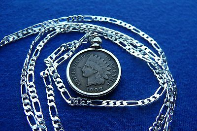 "Authentic Indian Penny Pendant on up to a 22"" 925 Silver Chain 100% USA MADE"