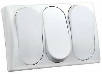 JR Products 13595 White Triple Modular On/Off Switch with Bezel