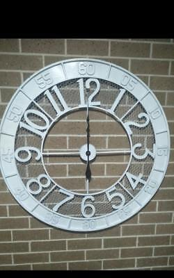 100cm Shabby White French Provincial Large Numerals Metal Wall Clock