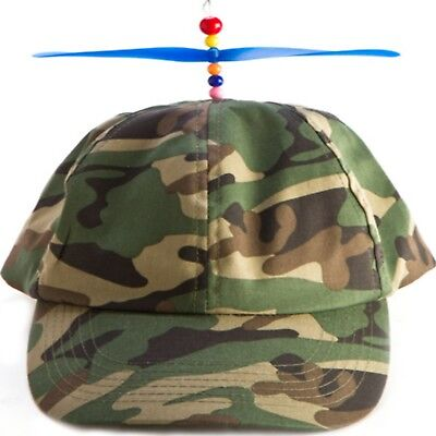 Boys Cap Kids Hat Propeller Helicopter Camouflage Baseball Propellor Green New