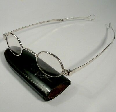 ANTIQUE circa 1850 folding arm solid silver spectacles / glasses late regency