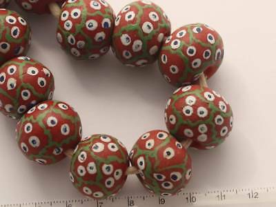 5 Stk. orange Krobo Millefiori Glasperlen 22x18mm Afrika Trade Beads Ubaley 3504