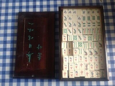 antique Chinese MAH JONG SET complete bamboo bovine bone carved