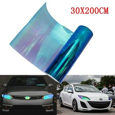 200x30cm Chameleon Colorful Blue Car Headlight Tail Fog Light Vinyl Tint Film BY