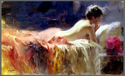 Pino Daeni,Hand-painted Portrait oil Painting On Canvas 24x36#70/Unframed