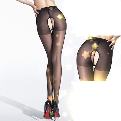 AU STOCK Sexy Foreplay Open Crotch Semi Sheer Thin Tights Cored Wire Pantyhose