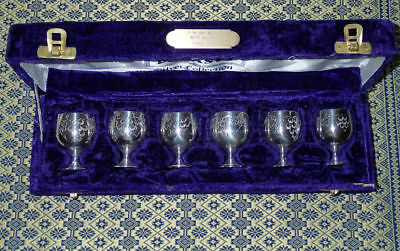 Silver plated cups in Case DYNASTY Silver Collection Port Shot cups
