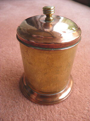 Antique Copper & Brass TEA CANNISTER - Chinoiserie decoration