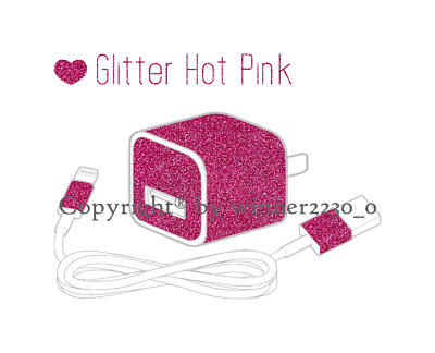 Sparkling GLITTER HOT PINK iPhone USB Charger Power Adapter Skin 6pcs Sticker AU