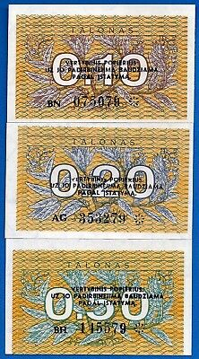 Lithuania P-29b, P-30, P-31b Uncirculated Banknote Set # 2 Europe