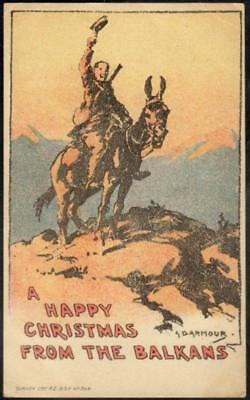 Balkans WWI Christmas Postcard: Mounted Soldier With Rifle - G.D. Armour