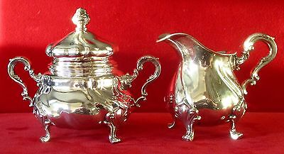 Exquisite Antique  Silver Rococo Covered Sugar Bowl With Matching Creamer