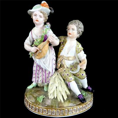C1774-1813 Antique Meissen Porcelain Figure Group Children Emblematic Of Summer