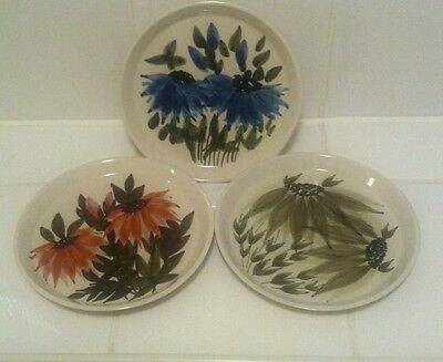 Jersey Pottery 3 X Shallow Dish Plate Wall Plaque Flower Design Vintage