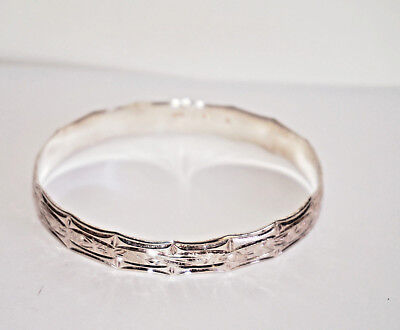 Hawaiian Bamboo Design Sterling Silver Engraved Bracelet Size 7.5 Signed