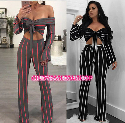 New European Style Women Two Piece Set Crop+Pants  Long Sleeve Club Play suit