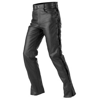 Mens Motorcycle Motorbike Black Cowhide Leather Side Laced Disco Trouser Pant