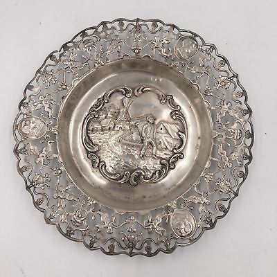 Antique Dutch Silver Repousse Town Scene Reticulated Rim Angels & Portraits