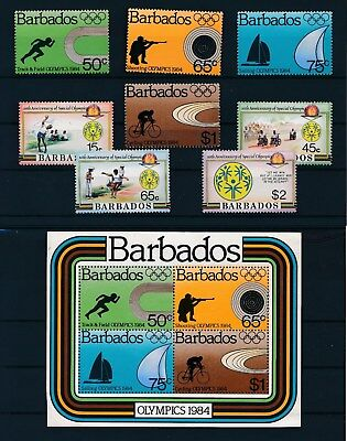 Barbados OLYMPICS ISSUES #623-626 & 626a (1984), #697-700 (1987); MNH