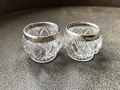 Vintage Silver Top and Cut Glass Table Salts - Hallmarked 1918 19 Birmingham FH