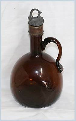 Vintage French amber glass hand blown decanter 23cm tall. In great condition