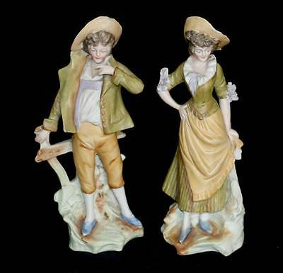 Vintage continental pair of country man & crinoline lady bisque figurines 24cm
