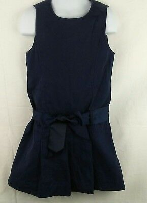 Childrens Place Navy Blue Uniform Pleated Jumper Dress Size 6 Belted
