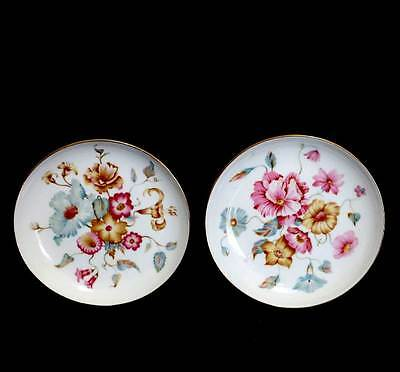 Vintage Queen Anne pretty floral pair of pin dishes or coasters
