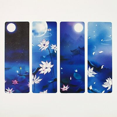 Pack of 8 large paper bookmarks of lotus flowers #B0018