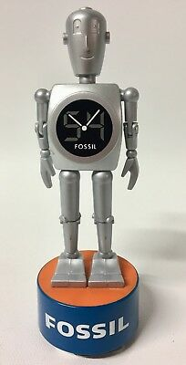 Vintage Fossil Watch Big Tic Robot Jointed Stan the Man Plastic Counter Display