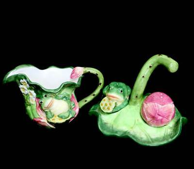 Vintage frog on lily pad salt & pepper set with tray and large jug