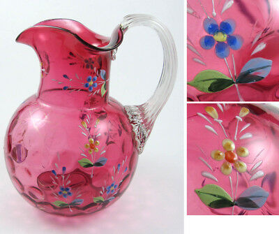 "Cranberry Blown Glass Water Pitcher Coin Dot Optic Inverted 7.75"" Enamel Flower"