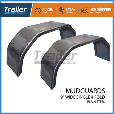 "Trailer Steel Mudguard Smooth Pair 4 Fold 9"" Wide Suit 13""/14"" Wheel Guard Boat"