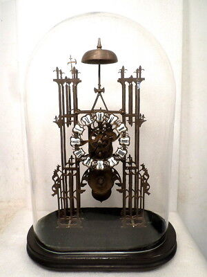 Single Train Skeleton Clock With Wooden Base & Glass Dome