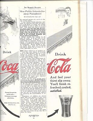 Rarer 1914 Coca'cola Split-Page Ad Still Intact In Mothers Magazine