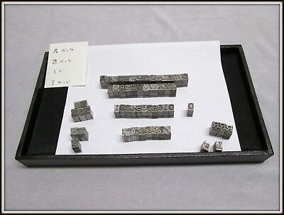 Vtg /  Antq Printers Type Set Complete Set W/ Punctuation ,  Numbers & Extras