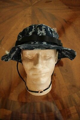 Usn Us Navy Type Marpat Blue Twill Camouflage Combat Floppy Hat Boonie Cap 7 1/2