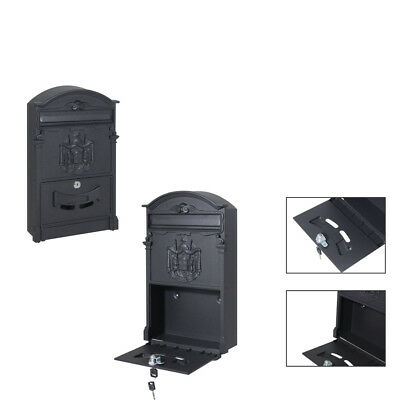 Durable Wall Mount Vintage Iron Letter Mailbox Postal Letter Box with 2 pcs Keys