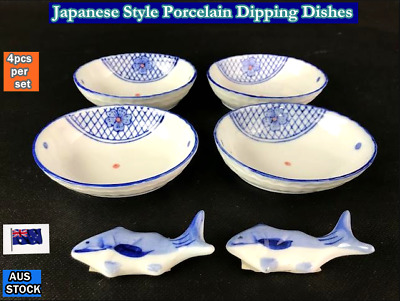 """NEW Japanese Style Porcelain Oval Sauce Dipping Dishes 4"""" - 4pcs/set (B155)"""