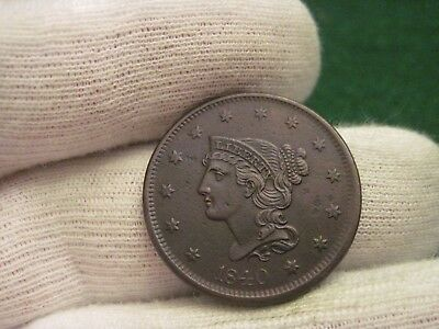 1840 Large Cent Large Cent High Grade Braided Hair Cent Type Coin