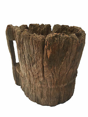Old Antique Wooden one piece hand carved Jar Wood Tribal Mortar Cup Pot w/handle