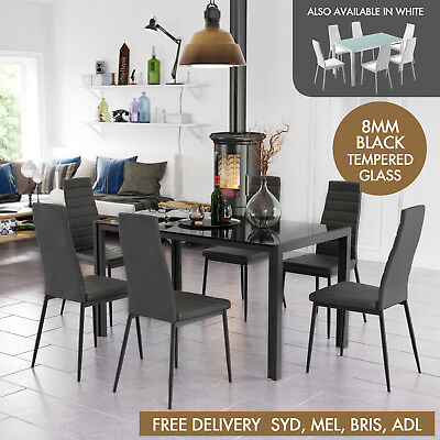 Modern 6 Seater Dining Set Glass Table PU Leather Chairs Furniture Black White