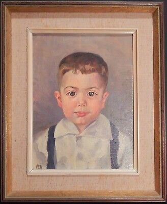 Original Vintage Oil Painting on Canvas Portrait of Boy Signed