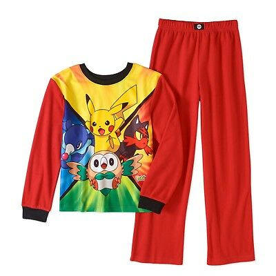 New Pokemon Boys 2-Pc Flannel Sleepwear Set Pajamas Red Size 10/12 Or 14/16 Nwt