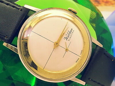 (Super-Rare) 1968 Waldan Electra Cross-Hair Golden Ring Dial Vintage Mens Watch