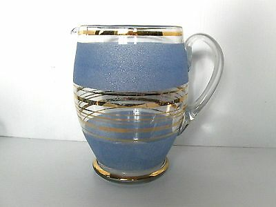Stylish Vintage Blue and Clear Glass Jug, Polished Pontil. 2 Lt.