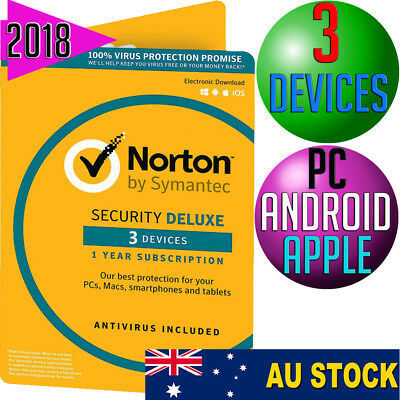 Norton Internet Security DELUXE 2018 Anti-Virus 3-DEVICES Multi PC Mac Android