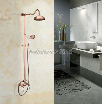 Antique Red Copper Wall  Mounted Dual Handle Rain Shower Faucet Set lrg623